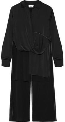 DKNY - Asymmetric Draped Stretch Silk-blend Top - Black $450 thestylecure.com