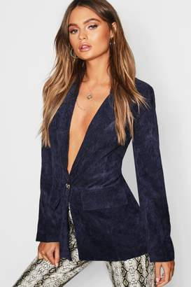 boohoo Cord Button Pocket Front Blazer