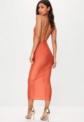 Missguided Orange Slinky Ankle Grazer Maxi Dress