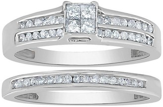 Affinity Diamond Jewelry Affinity 14K Gold 2/5 cttw Diamond Double-Channel Ring Set