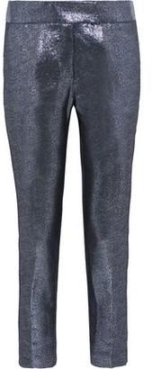 Rachel Zoe Dani Cropped Lamé Slim-Leg Pants