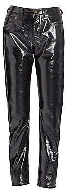 Saint Laurent Women's Patent Denim Pants