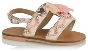 Bell George Pink Leather Embellished Tassel Slingback Sandals