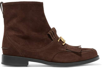 Tod's Chain-trimmed Fringed Suede Ankle Boots - Dark brown