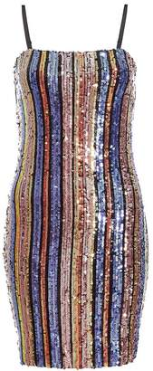 Quiz TOWIE Gold Pink and Purple Sequin Stripe Bodycon Dress
