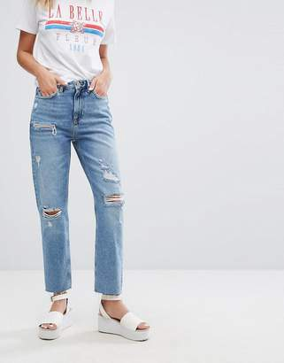New Look Distressed Mom Jean
