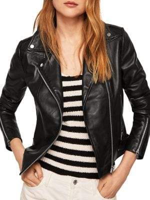 MANGO Perfect Leather Biker Jacket