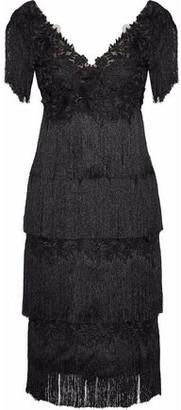 Marchesa Fringed Embellished Tulle Dress