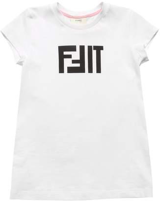 Fendi Fit Print Cotton Jersey T-Shirt
