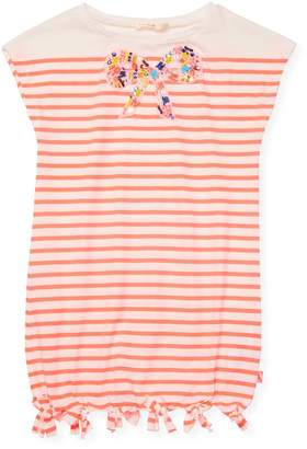 Billieblush Beaded Bow Striped Cotton Dress
