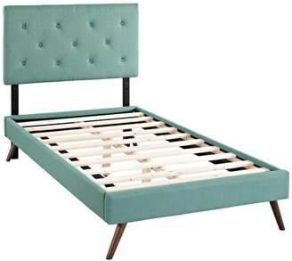 Modway Terisa Twin Upholstered Platform Bed with Round Splayed Legs, Multiple Colors