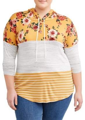 Tru Self Women's Plus Size Mixed Print Colorblock Hoodie Red Print