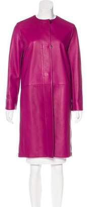 Hermes Leather Knee-Length Coat