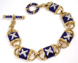 Hidalgo 18K Yellow Gold Blue Enamel X Diamond Toggle Bracelet