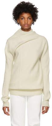 Jil Sander White Ribbed Cashmere Sweater