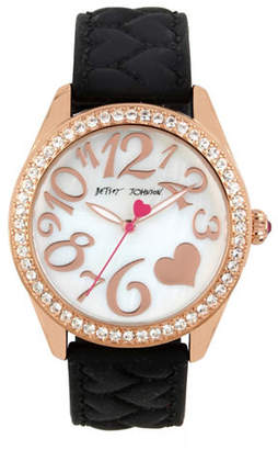 Betsey Johnson Goldtone Stainless Steel Black Silicone Strap Watch
