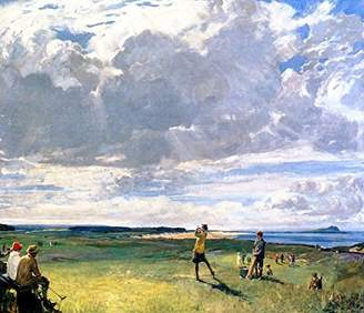 Berwick Cutler Miles The Links, North by Sir John Lavery, R.a. Hand Painted Oil on Canvas Reproduction Wall Art.