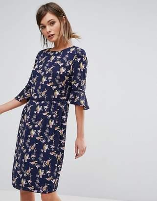 Oasis Lotus Bird Flute Sleeve Dress Longer Line $76 thestylecure.com