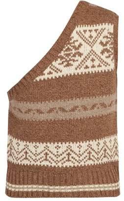 SASQUATCHfabrix. Nordic Knit One Shoulder Sleeveless Sweater - Mens - Brown Multi
