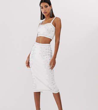 Starlet embellished pencil skirt in white and silver