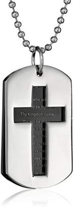 """Cold Steel Men's Stainless Steel Black Immersion Plate """"Lord's Prayer"""" Dog Tag Pendant Necklace"""