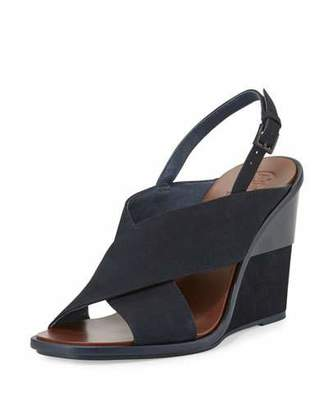 Tory Burch Gabrielle Suede Wedge Sandal, Royal Navy $350 thestylecure.com