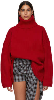 Acne Studios Red Ribbed Turtleneck