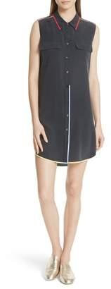 Equipment Signature Slim Stripe Trim Silk Dress