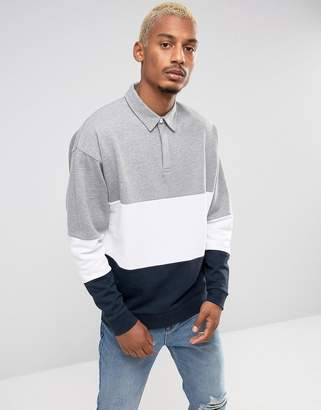 Asos Oversized Rugby Sweatshirt With Color Blocking