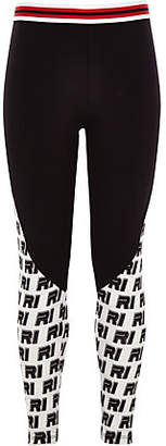 River Island Girls Black ponte RI print leggings