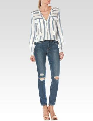 Kadin Shirt - White/Blue Shadow $158 thestylecure.com