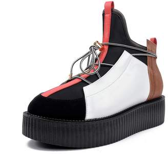 64447616f83 RoseG Men s Full Grain Leather Punk Platform High Top Creepers Ankle Boots  Size11