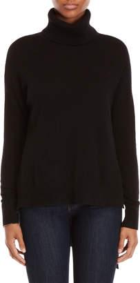 Vertical Design Cashmere Asymmetric Turtleneck Sweater