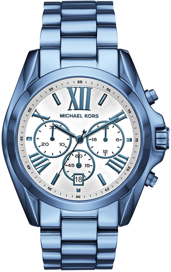 MICHAEL Michael Kors Michael Kors Women's Chronograph Bradshaw Ocean Blue Stainless Steel Bracelet Watch 43mm MK6488