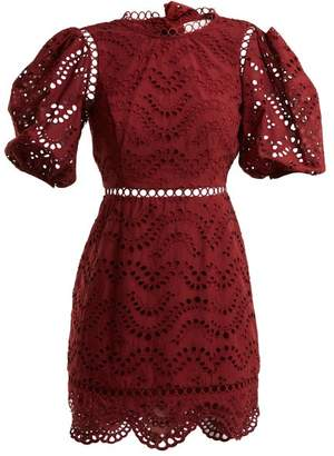 Zimmermann Jaya Wave Cotton Dress - Womens - Burgundy