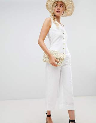 Warehouse jumpsuit with button front in white