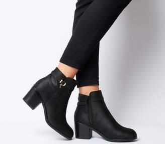 Office Attract Ankle Strap Boots Black With Branded Charm