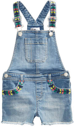 Epic Threads Little Girls Rainbow-Embroidered Denim Shortall