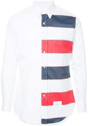 Thom Browne Classic Long Sleeve Point Collar Button Down Shirt In Funmix In Wide Repp Stripe Poplin