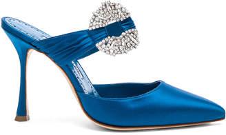 Manolo Blahnik Satin Maidugur 90 Heel in Blue | FWRD