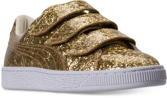 Puma Women's Basket Strap Glitter Casual Sneakers from Finish Line