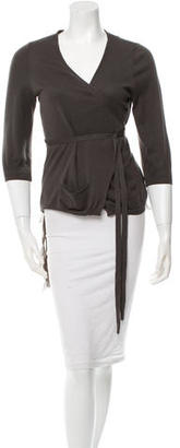 Vera Wang Silk-Embellished Wrap Cardigan $125 thestylecure.com