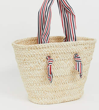 22921ccab South Beach straw beach bag with striped handle