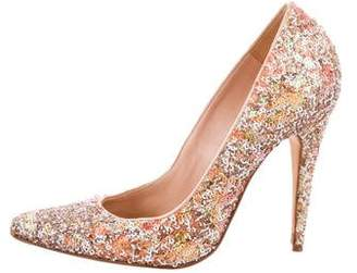Manolo Blahnik Pointed-Toe Sequin Pumps