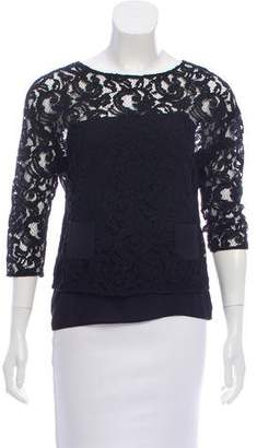 No.21 No. 21 Lace-Accented Three-Quarter Length Sleeve Top