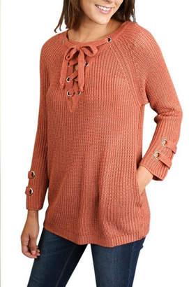 Umgee USA Lace Up Sweater