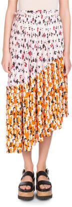 Kenzo Floral-Print Pleated Midi Skirt with Asymmetric Hem