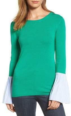 Halogen Poplin Bell Cuff Sweater (Petite)