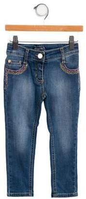 Blumarine Girls' Embellished Five Pocket Jeans