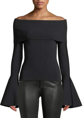 SOLACE London Venna Off-the-Shoulder Dramatic Bell-Sleeve Top